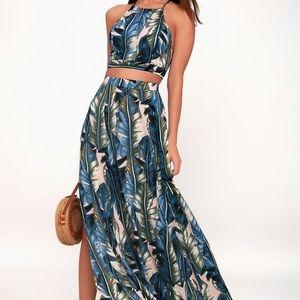 Teal Blue Leaf Print Two-Piece Maxi Dress